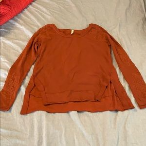 Free People Rust Long Sleeve Tee